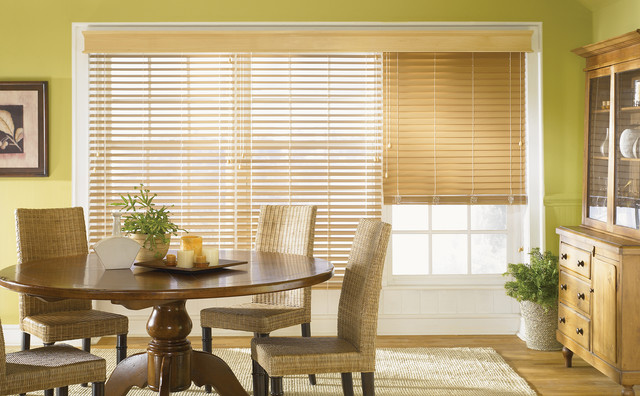 Faux Wood Blinds Traditional Dining Room Other Metro