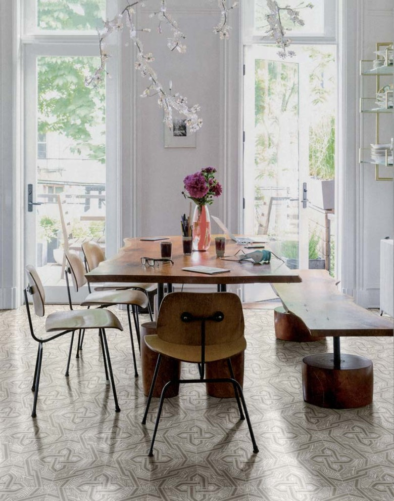 Trendy dining room photo in Other with white walls