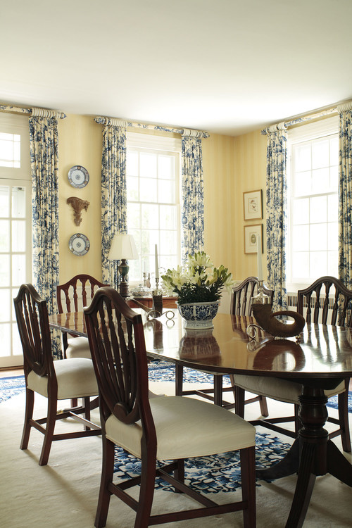 Window treatment ideas for Yellow dining room ideas