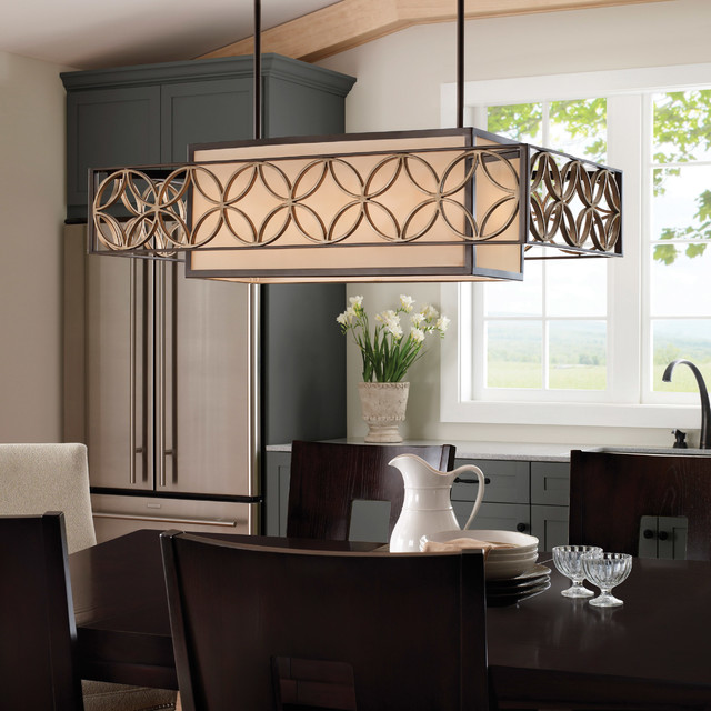 Feiss F2468 4HTBZ PGD Remy Heritage Bronze Island Light Midcentury Dining Room