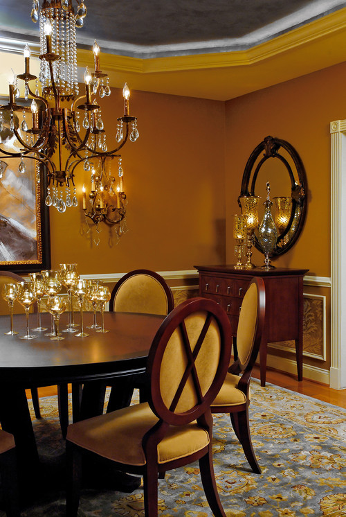 What color od curtains for honey beige walls for Dining room ideas gold