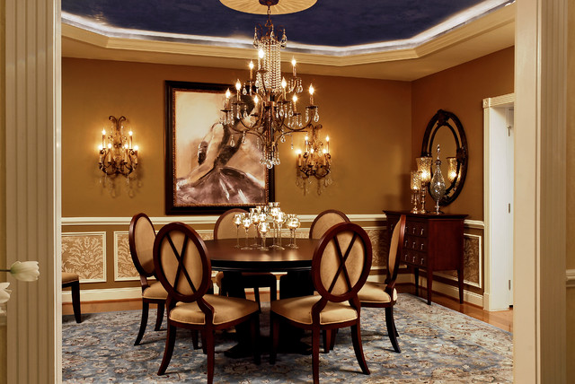 Houzz Wallpaper Dining Room: Feminine Dining Room 4