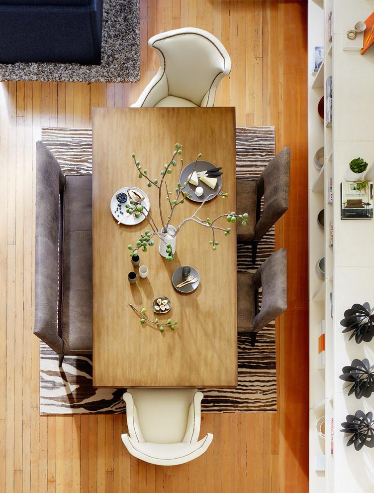 Trendy medium tone wood floor dining room photo in San Francisco
