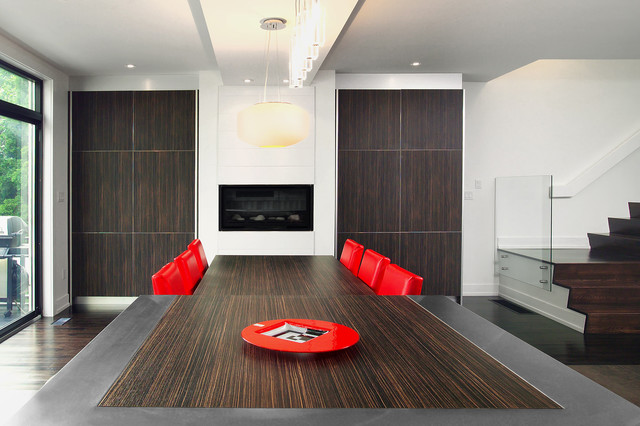 Fireplaces Modern Dining Room