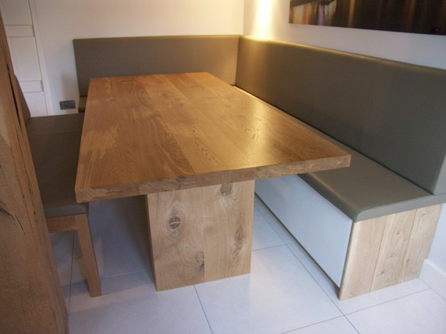 Fitted Bench Seating And Oak Table Contemporary Dining Room
