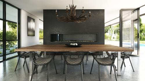 Antler Chandelier In Modern Design Dining Room
