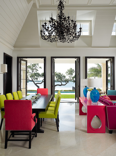 Tropical Dining Room by John David Edison Interior Design Inc.