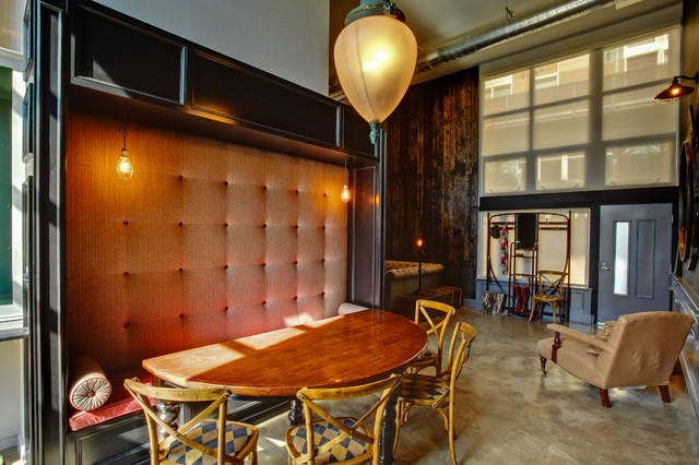 Urban Concrete Floor Dining Room Photo In Los Angeles