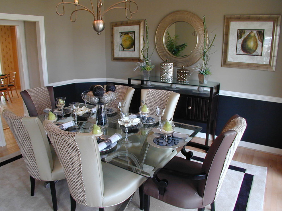 Inspiration for a timeless light wood floor dining room remodel in DC Metro with beige walls