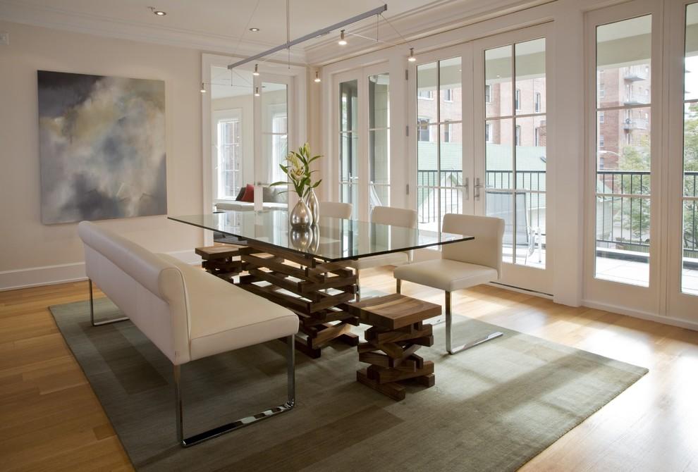 Dining room - contemporary medium tone wood floor and beige floor dining room idea in DC Metro with beige walls