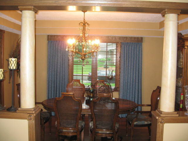 Formal dining room custom drapery other home updates for Updating a traditional dining room