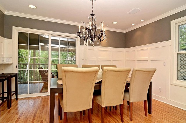 Formal dining room grey gray and white wainscot for Dining room wainscoting