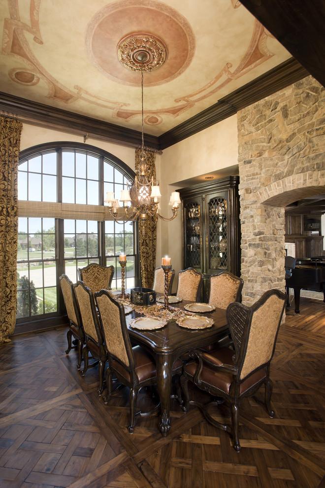 Elegant dark wood floor dining room photo in Minneapolis with beige walls