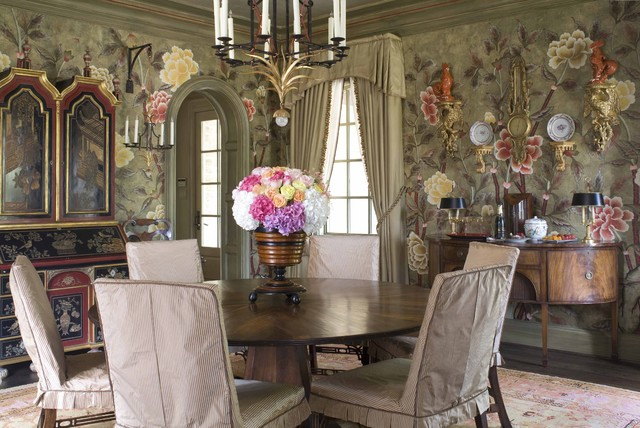 Formal dining room traditional dining room dallas for Traditional dining room wallpaper