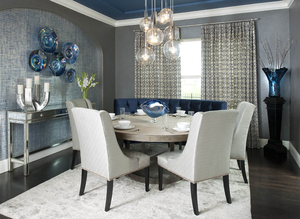 Inspiration for a contemporary dark wood floor dining room remodel in Dallas with gray walls