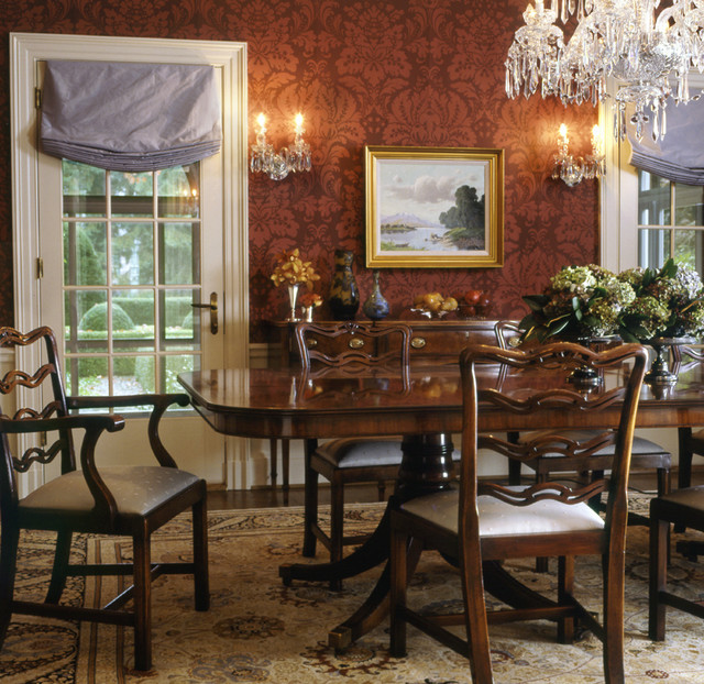 Formal dining room for Traditional red dining room
