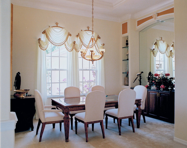 Formal dining room window treatments traditional for Dining room windows