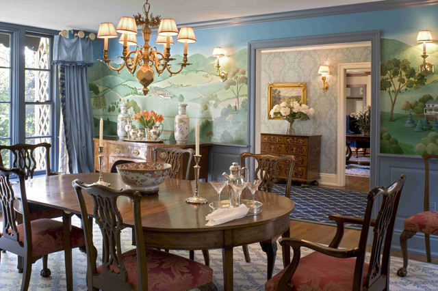 Formal dining room with murals traditional dining room for Traditional dining room wall decor
