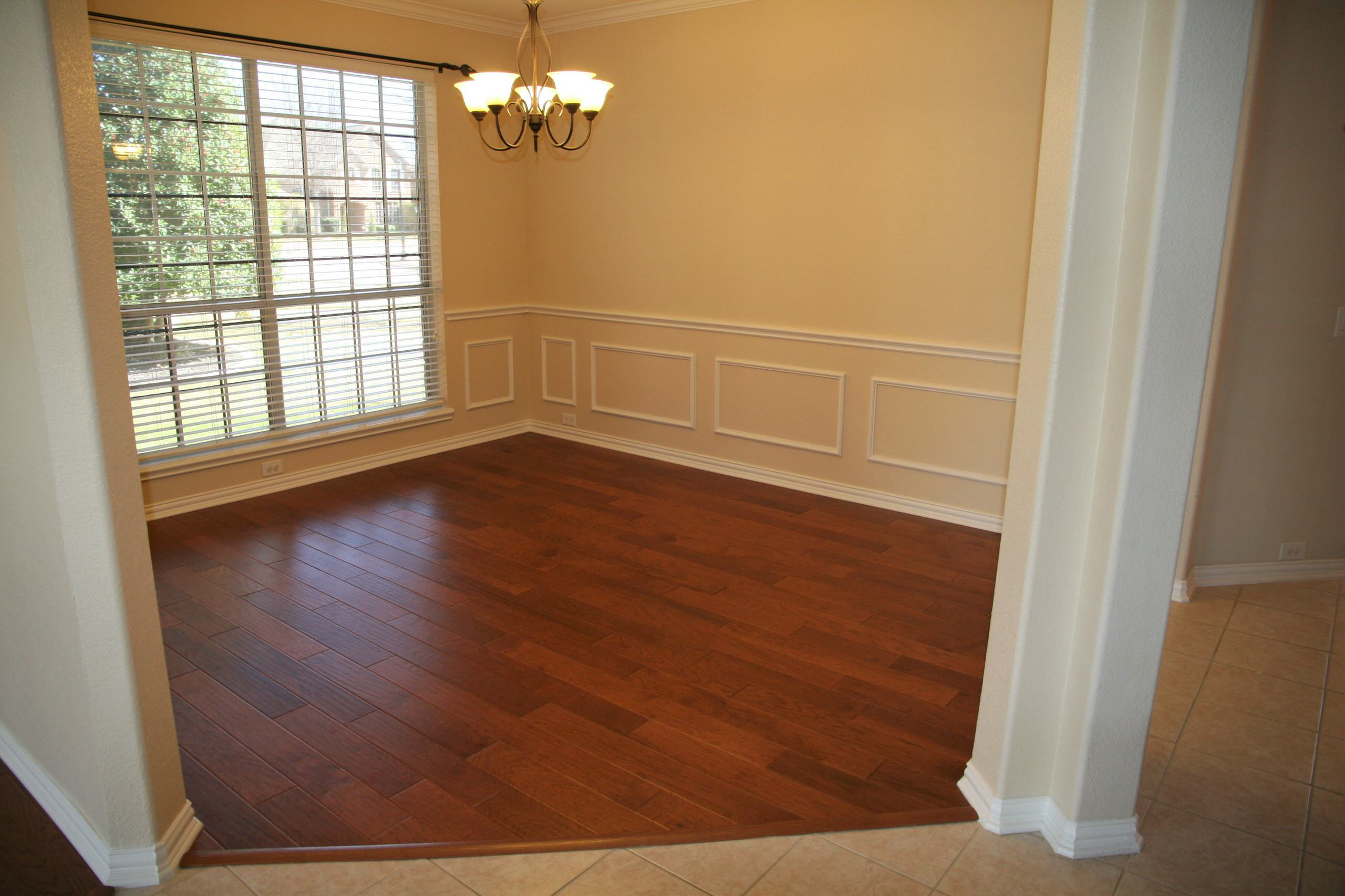Formal Living Area conversion to Home Office with wood flooring