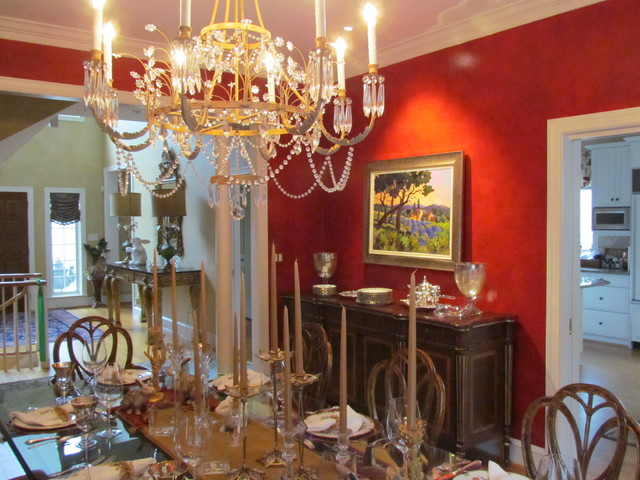Formal red dining room traditional dining room for Traditional red dining room