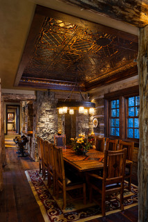 pattern 11 in oil rubbed bronze the ceiling is rich and luxurious to create a warm cabinfeel - American Tin Ceilings