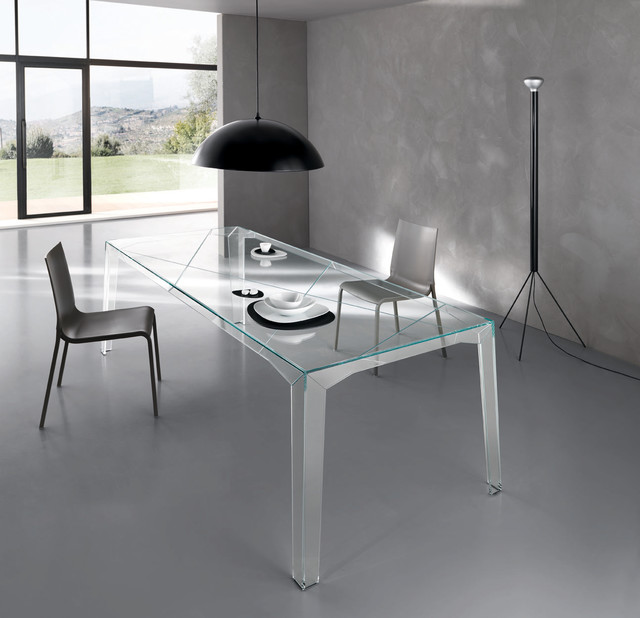 Fragments all glass dining table by tonelli design for All glass dining room table