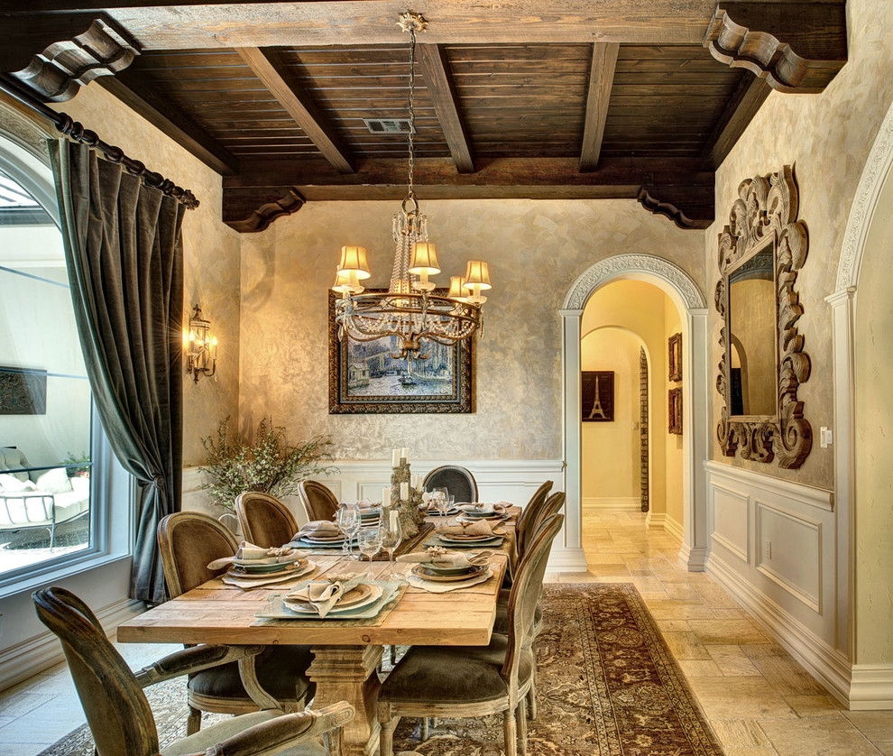 Inspiration for a large mediterranean enclosed dining room remodel in Austin with beige walls and no fireplace