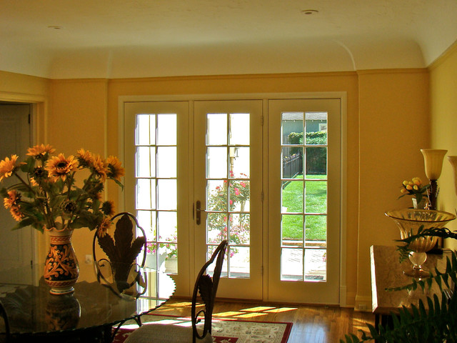 french door conversion traditional dining room