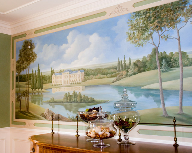 french pastoral mural traditional dining room new york by