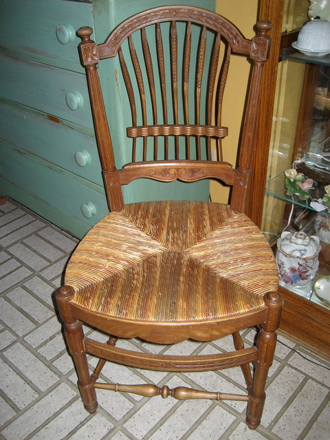 French Provincial Wheat Back Chairs Farmhouse Dining Room