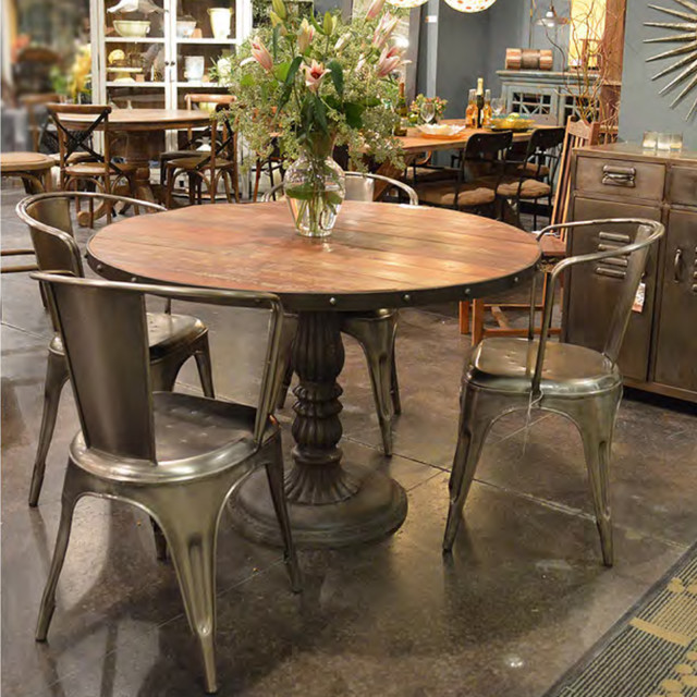 Industrial Modern Dining Room Table: French Soda Fountain Round Table 47""