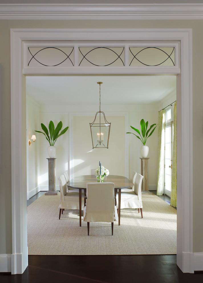 Elegant dark wood floor dining room photo in DC Metro with beige walls