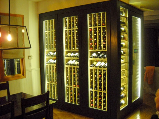 Full Cabinet Wine Display With Led Lighting Traditional