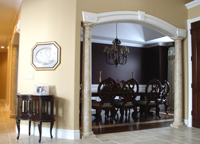 Furniture pillars fireplace mantels traditional for Dining room designs with pillars