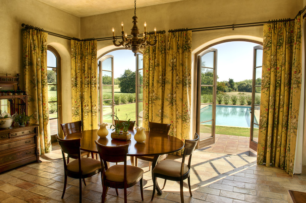 Inspiration for a mediterranean dining room remodel in Other with yellow walls