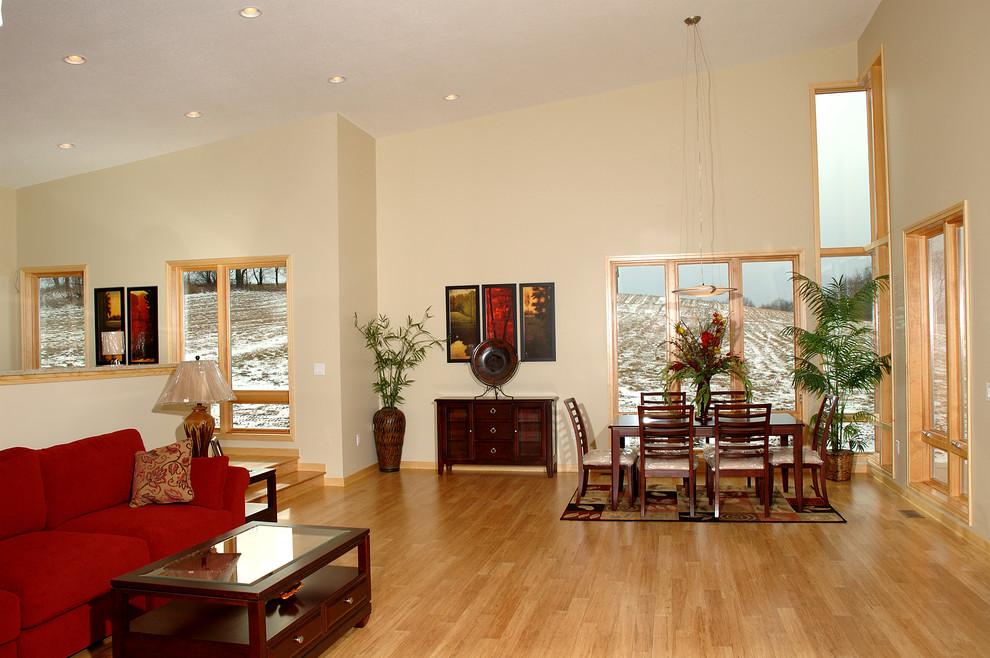Dining room - contemporary bamboo floor dining room idea in DC Metro