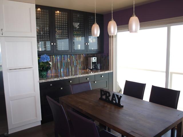 Galley kitchen contemporary dining room orange for Galley kitchen open to dining room