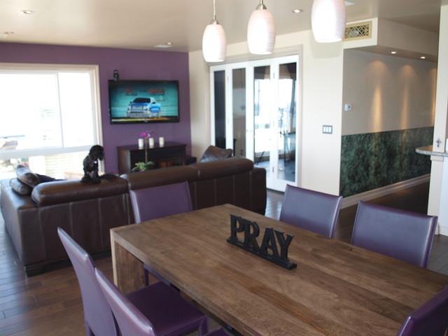 Galley Kitchen Contemporary Dining Room Orange