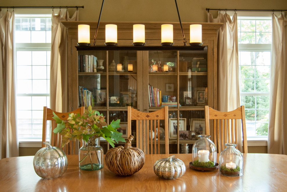 Inspiration for a cottage dining room remodel in Cincinnati with beige walls