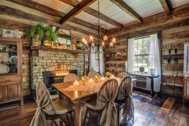 Gentry Farm Log Cabin Dining Room Left Rustic