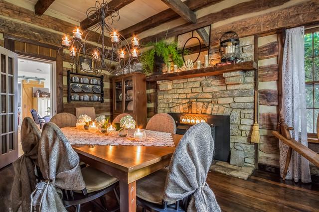 Gentry Farm Log Cabin Dining Room Right rustic-dining-room