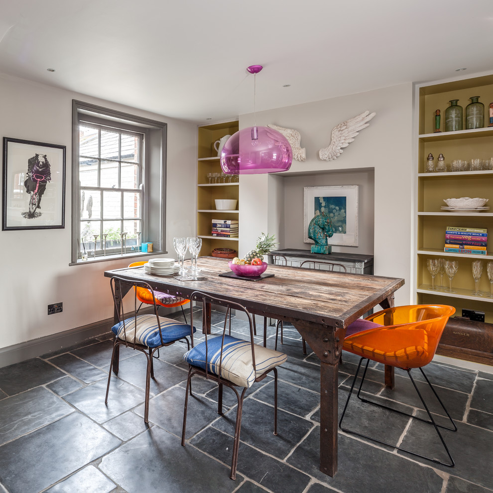 Inspiration for an eclectic dining room remodel in Oxfordshire with white walls and no fireplace