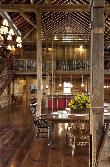 German Style Bank Barn Conversion Farmhouse Dining Room