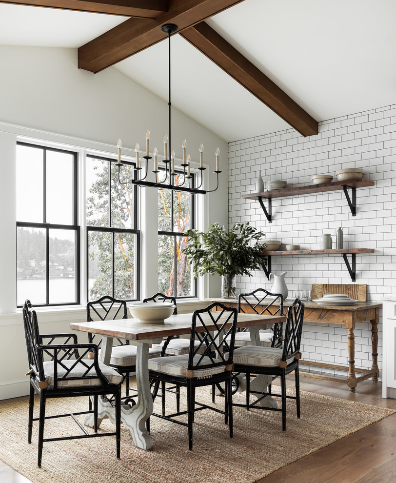 Cottage light wood floor dining room photo in Seattle with white walls and no fireplace