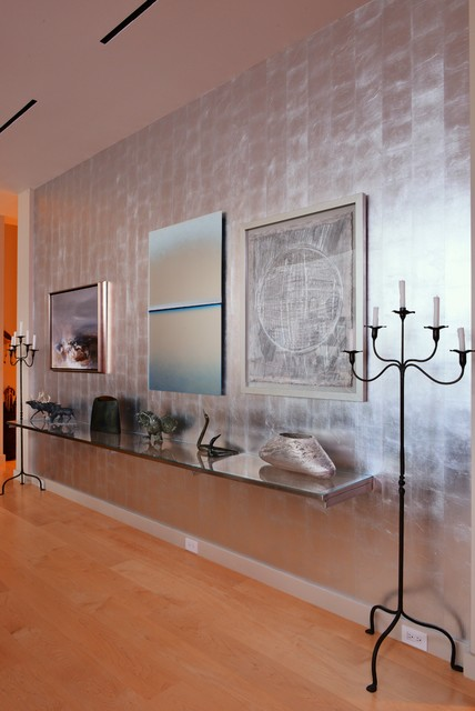 Glam Silver Art Wall Contemporary Dining Room