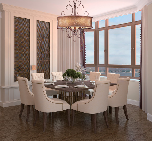 Glamorous Drum Shimmer Shaded Bronze Scroll Chandelier Alexander Contemporary Dining Room New York