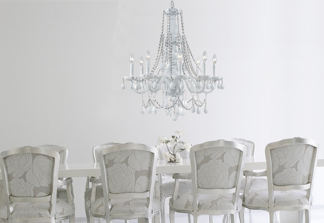 Glamorous White Crystal Chandelier In Transitional Dining Room Traditional