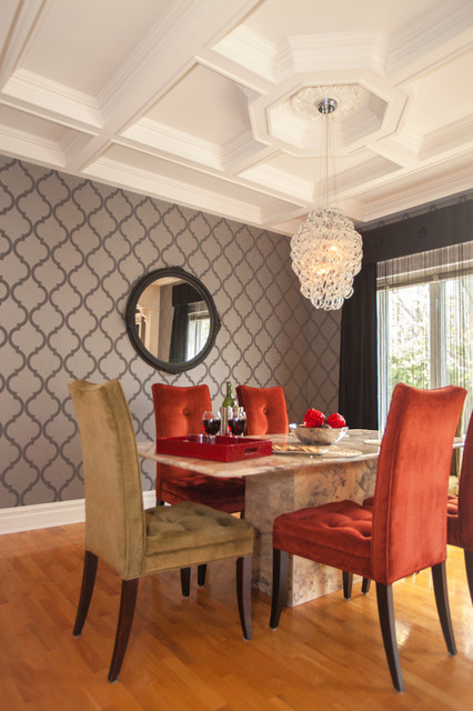 Glamour living room dining room kitchen small bathroom for Small dining room ideas houzz