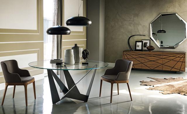 Gl Dining Table Skorpio Round By Cattelan Italia