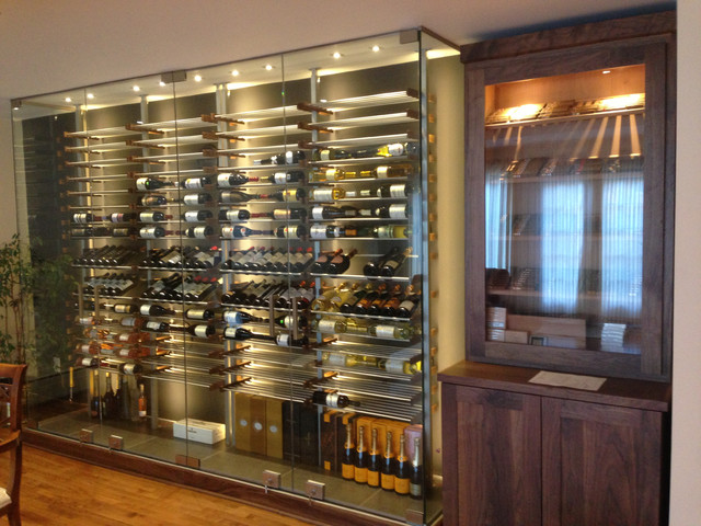 Glass wine room in the dining room -2- contemporary-dining ...